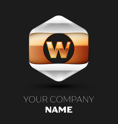 golden letter w logo in silver-golden hexagonal vector image