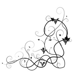 grapes weaving tangled plant black on white vector image