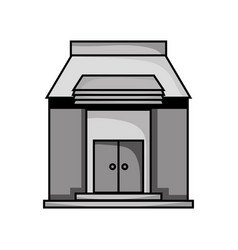 Grayscale school education with roof and doors vector