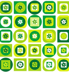 Green pattern of geometric shapes and flowers vector image
