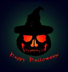 halloween party pumpkin in a hat halloween poster vector image