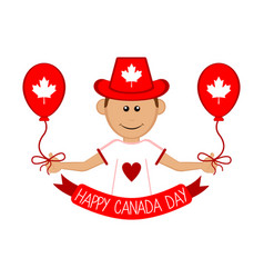 happy man with a party hat canada day vector image