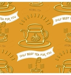Herbal tea theme seamless pattern vector image
