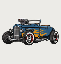 Hot rod car with flame decal vector