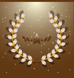 imagination flora laurel wreath on brown vector image