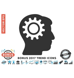 Intellect Gear Flat Icon With 2017 Bonus Trend vector
