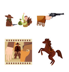 isolated object wild and west icon collection vector image