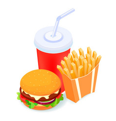 isometric french fries and vector image