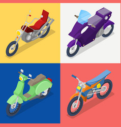 isometric motorcycle set with mountaine bike vector image