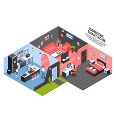 Isometric smart home composition vector
