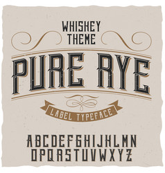 Label font and sample design with decoration vector