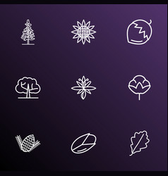Landscape icons line style set with hazel nut vector