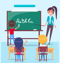 Lesson in classroom colorful vector