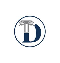 Letter d and law pillar logo design vector