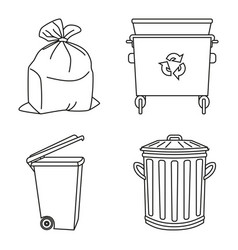 Line art black and white garbage collection vector