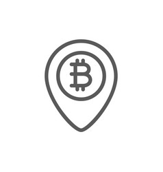 location mark with bitcoin coin blockchain line vector image