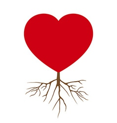 Love Heart with Root Design vector image