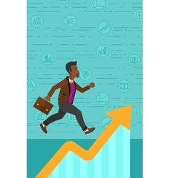 Man running on growth graph vector image