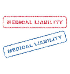 Medical liability textile stamps vector
