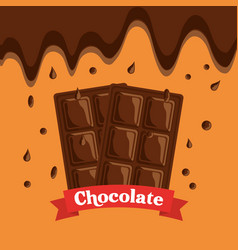 melted chocolate bars drops dessert banner vector image