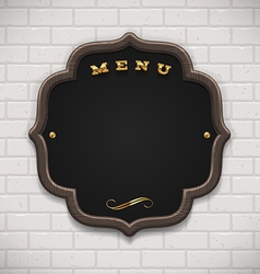 Menu chalkboard with wooden frame on white brick vector image
