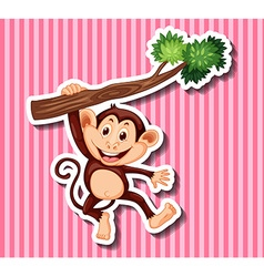 Monkey hanging on branch vector image