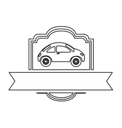 Monochrome contour of sport car in heraldic frame vector