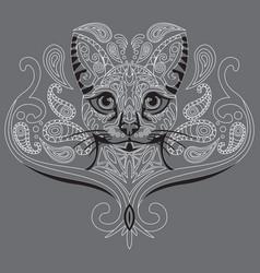Monochrome ornamental cat 2 vector