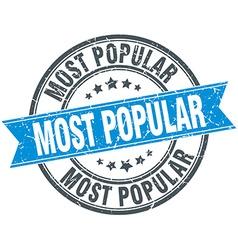 Most popular blue round grunge vintage ribbon vector