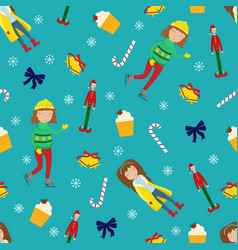 new year sealmless pattern with girls vector image