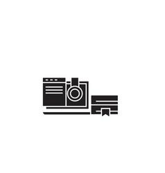 online school black concept icon online vector image