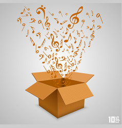 Open paper box with notes vector