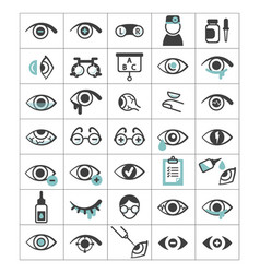 ophthalmic set icons eyes with impaired vision vector image