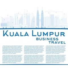 Outline Kuala Lumpur Skyline with Blue Buildings vector image