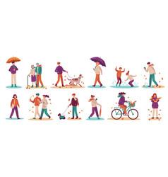people in fall season men and women walk street vector image