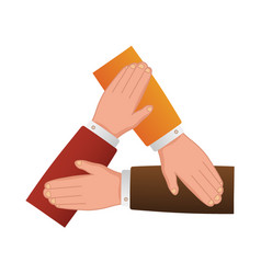 People putting hands together isolated cartoon vector
