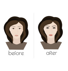 Permanent makeup the face of the girl before and vector