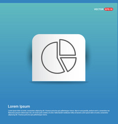 Pie chart diagram icon - blue sticker button vector