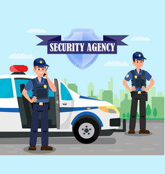 Police officers on mission flat color vector