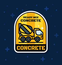 Ready mix concrete loader truck badge banner vector