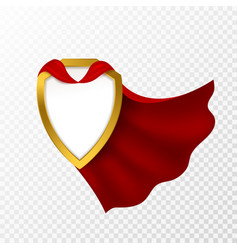 Red cape badge hero cloak mantle carnival vector