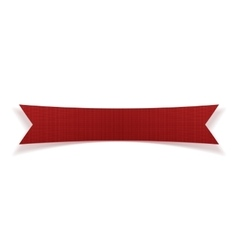Red greeting textile ribbon with shadows vector