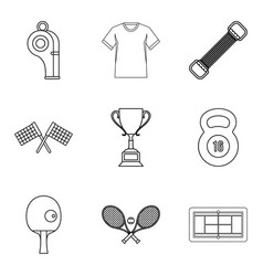 regalia of winner icons set outline style vector image