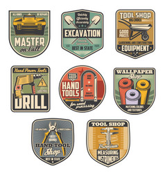Repair tool or construction equipment retro badges vector