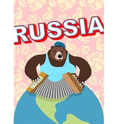 Russian bear cap with earflaps plays harmonica vector image