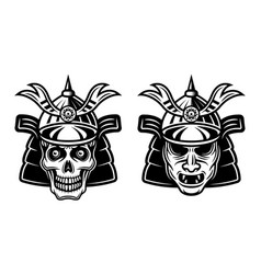 samurai mask and skull japanese warrior vector image