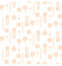 scandinavian folk pale pink floral art pattern vector image