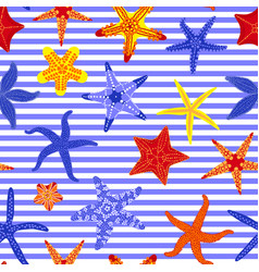 sea stars seamless pattern marine striped vector image