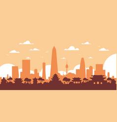 Seoul silhouette skyline south korea city view vector