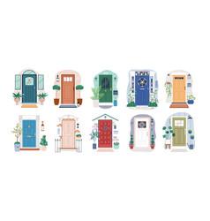 Set different house entrances porches vector